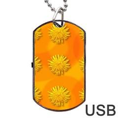 Dandelion Pattern Dog Tag USB Flash (One Side)