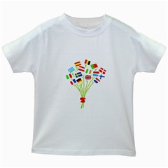 Flag Bouquet Kids White T-Shirts