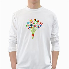 Flag Bouquet White Long Sleeve T Shirts
