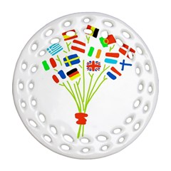 Flag Bouquet Round Filigree Ornament (2Side)