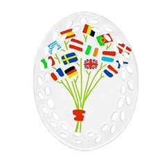 Flag Bouquet Oval Filigree Ornament (2-Side)