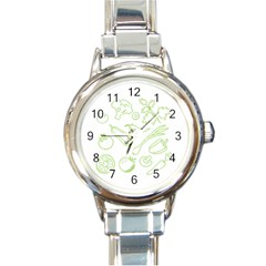 Green Vegetables Round Italian Charm Watches