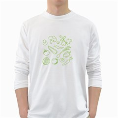 Green Vegetables White Long Sleeve T-Shirts