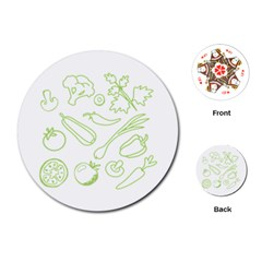 Green Vegetables Playing Cards (round)