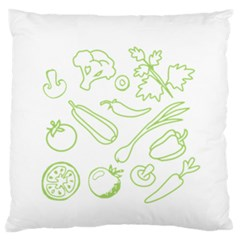 Green Vegetables Large Flano Cushion Cases (Two Sides)