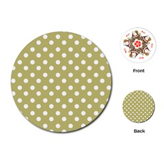 Lime Green Polka Dots Playing Cards (Round)