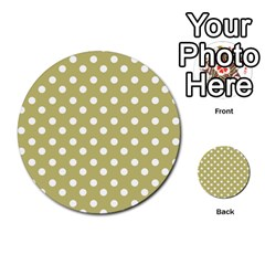 Lime Green Polka Dots Multi Purpose Cards (round)