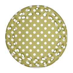 Lime Green Polka Dots Ornament (round Filigree)