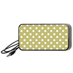 Lime Green Polka Dots Portable Speaker (black)