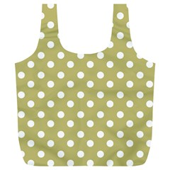 Lime Green Polka Dots Full Print Recycle Bags (l)