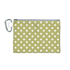Lime Green Polka Dots Canvas Cosmetic Bag (M)
