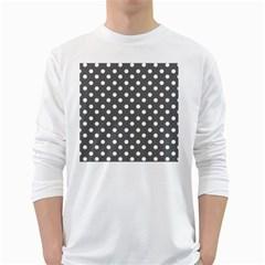 Gray Polka Dots White Long Sleeve T-Shirts