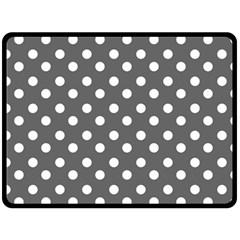 Gray Polka Dots Fleece Blanket (Large)