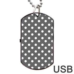 Gray Polka Dots Dog Tag USB Flash (Two Sides)