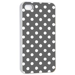 Gray Polka Dots Apple iPhone 4/4s Seamless Case (White)