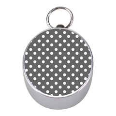 Gray Polka Dots Mini Silver Compasses
