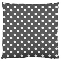 Gray Polka Dots Large Flano Cushion Cases (one Side)