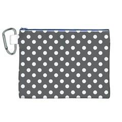 Gray Polka Dots Canvas Cosmetic Bag (XL)