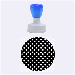 Black And White Polka Dots Rubber Round Stamps (Medium)