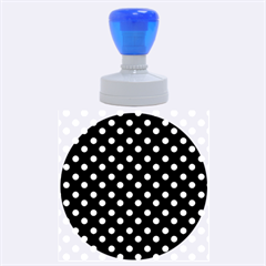 Black And White Polka Dots Rubber Round Stamps (large)