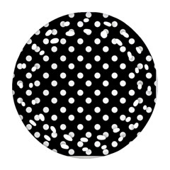 Black And White Polka Dots Ornament (Round Filigree)