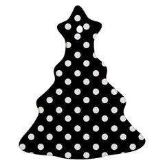 Black And White Polka Dots Christmas Tree Ornament (2 Sides)