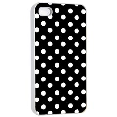 Black And White Polka Dots Apple iPhone 4/4s Seamless Case (White)