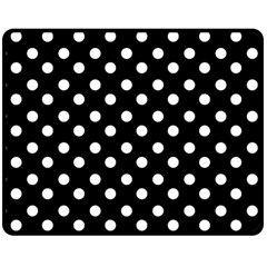 Black And White Polka Dots Double Sided Fleece Blanket (medium)
