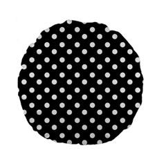 Black And White Polka Dots Standard 15  Premium Flano Round Cushions