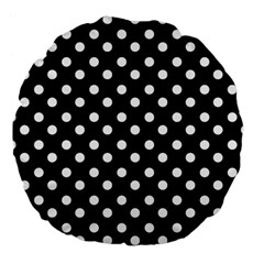 Black And White Polka Dots Large 18  Premium Flano Round Cushions