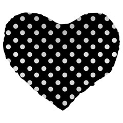 Black And White Polka Dots Large 19  Premium Flano Heart Shape Cushions