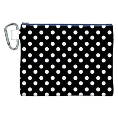 Black And White Polka Dots Canvas Cosmetic Bag (xxl)