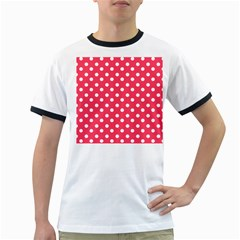 Hot Pink Polka Dots Ringer T-Shirts