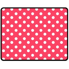 Hot Pink Polka Dots Fleece Blanket (Medium)