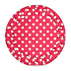 Hot Pink Polka Dots Round Filigree Ornament (2side)