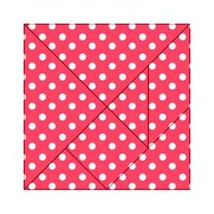 Hot Pink Polka Dots Acrylic Tangram Puzzle (6  x 6 )