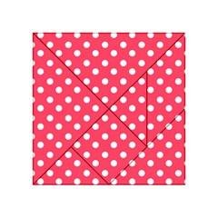Hot Pink Polka Dots Acrylic Tangram Puzzle (4  X 4 )