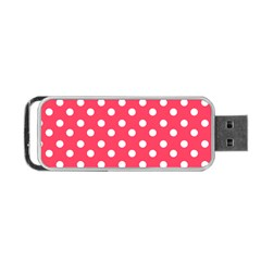 Hot Pink Polka Dots Portable USB Flash (Two Sides)