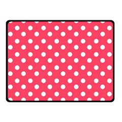 Hot Pink Polka Dots Double Sided Fleece Blanket (Small)