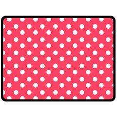 Hot Pink Polka Dots Double Sided Fleece Blanket (large)