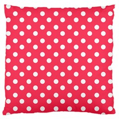 Hot Pink Polka Dots Standard Flano Cushion Cases (One Side)