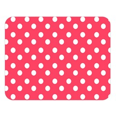 Hot Pink Polka Dots Double Sided Flano Blanket (Large)