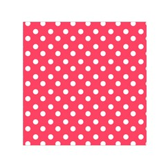 Hot Pink Polka Dots Small Satin Scarf (Square)