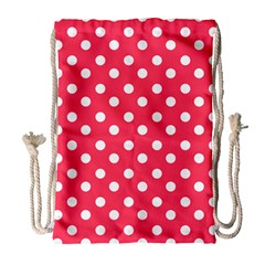 Hot Pink Polka Dots Drawstring Bag (large)