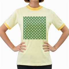 Mint Green Polka Dots Women s Fitted Ringer T Shirts