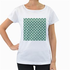 Mint Green Polka Dots Women s Loose-Fit T-Shirt (White)