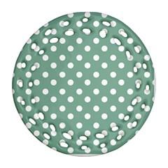 Mint Green Polka Dots Ornament (Round Filigree)