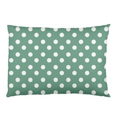 Mint Green Polka Dots Pillow Cases (two Sides)