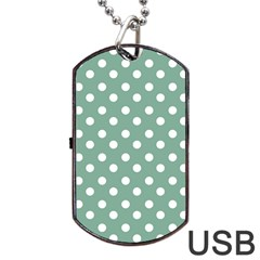 Mint Green Polka Dots Dog Tag USB Flash (One Side)