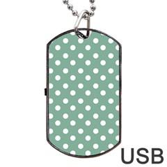 Mint Green Polka Dots Dog Tag Usb Flash (two Sides)